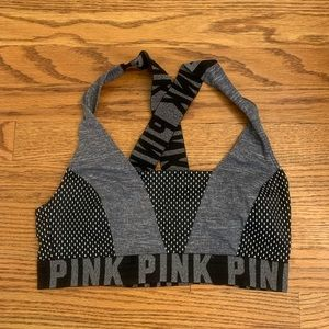 PINK Victoria Secret Wide-Strap Sport Bra Black &